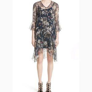 FUZZI Silk Floral Chiffon Bird Dress Size Large 46